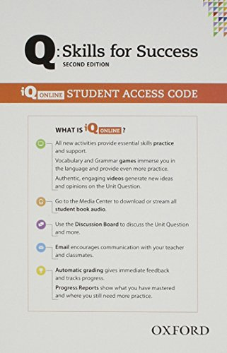 Q Skills for Success All Levels 2nd Edition   Student iQ Online Access Card